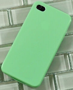 Mint Green Teal TPU Hybrid Gel Skin Silicone Case Cover for iPhone 4 4S 4G
