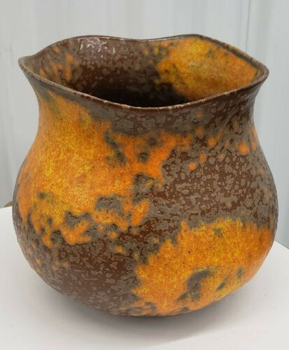 ROYAL HAEGER 7.5 ORANGE PEEL GLAZE MID-CENTURY Danish MODERN Pottery Studio - $245.00