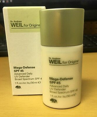 Dr  Andrew Weil Origins Mega Defense Broad Spf45 Advanced Daily Uv  1Oz 30Ml New