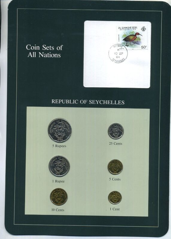 SEYCHELLES 1982 6 COIN  SET WITH STAMP BU