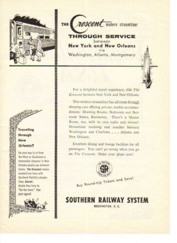 1959 Crescent Streamliner NY to New Orleans Train Southern Railway - Vintage Ad