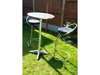 Brasserie style high table and 2 chairs