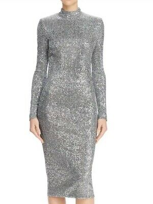 Rebecca Vallance Womens Sz 2 Andree Sequined Silver Dress Mock Neck Long Sleeve