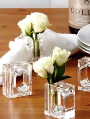 (4) Fresh Flower Napkin Rings Holders Vase Clear Lucite ALA CART TWO'S COMPANY Fresh Flower Holders