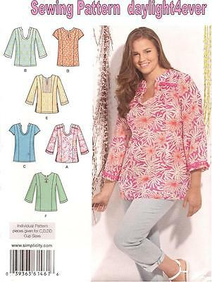 Women Pull-over Top Tunic 6 Styles Sewing Pattern 1461 New Size 20W-28W #z
