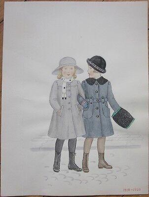 Original Art/Hand-Painted Children's Fashion Painting: 1918-1920