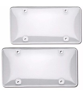 (2 Clear License Plate Tag Frame Covers Bubble Shields Protector for Car-Truck)