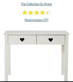 New in box Mia Argos white heart desk