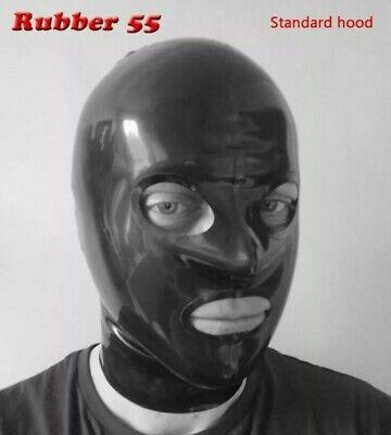 Male Black Latex Rubber Fetish Hood - Rubber55 - Size M