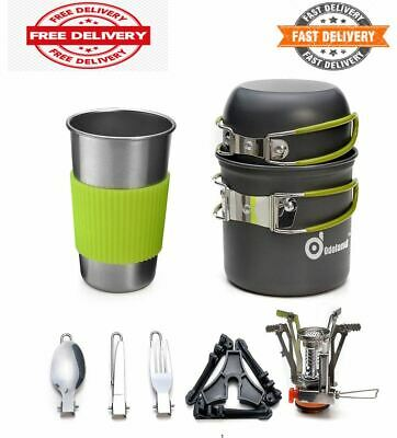 Camping Cookware Stove Carabiner Canister Stand Tripod and Stainless Steel Cup