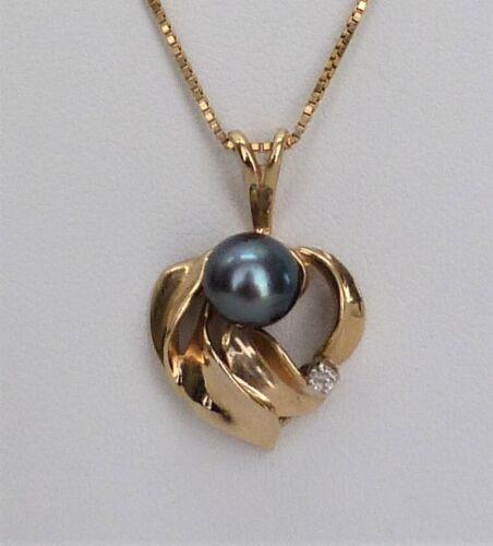 14K YELLOW GOLD MAUI DIVERS TAHITIAN PEARL DIAMOND MAILE LEAF PENDANT 3.1 GRAM