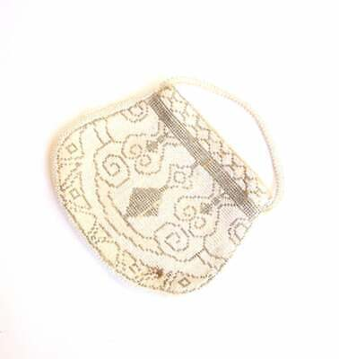 1920s Handbags, Purses, and Shopping Bag Styles MICROBEADED SILVER WHITE Purse 20s Clutch Victorian Flapper Czechoslovakian 50s $7.74 AT vintagedancer.com