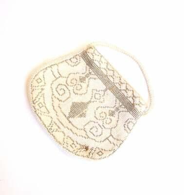 1920s Style Purses, Flapper Bags, Handbags MICROBEADED SILVER WHITE Purse 20s Clutch Victorian Flapper Czechoslovakian 50s $7.74 AT vintagedancer.com