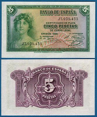 SPANIEN / SPAIN 5 Pesetas 1935 UNC  P.85