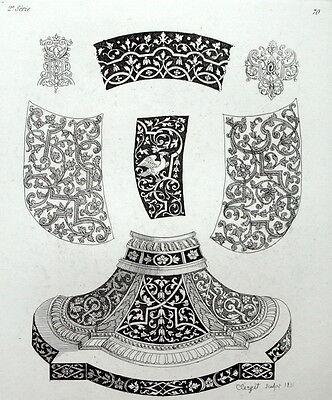 Estampado decorativos Jarrón ornamento arquitectura grabado Riester Clerget