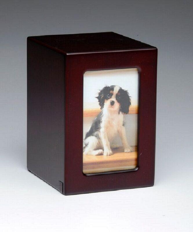 Pet Urn,Dog Cat Small Animal Cremation Urn Photobox,Pet Memorial,Color Cherry