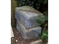 "Two large breeze blocks-length 17"",width 12"",height 8"".In good condition."