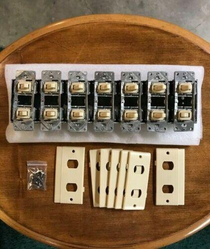 7 Narrow Gang Multiple Light Switch Unit W/ Interlocking Faceplates - 2 Wire