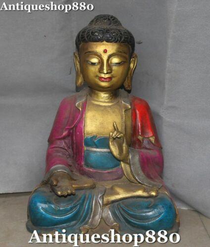 """17"""" Old Tibet Bronze Painting Seat Shakyamuni Sakyamuni Amitabha Buddha Statue"""