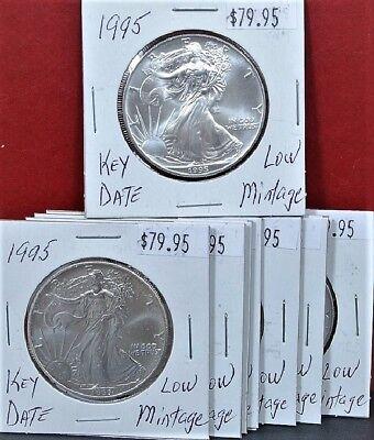 Uncirculated Silver Eagle Dollar Coins - 1995 Silver American Eagle BU 1 oz Coin US $1 Dollar Mint Uncirculated Brilliant