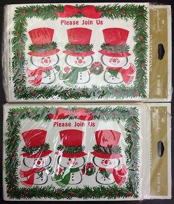 Lot of 2 Vintage Hallmark Christmas Invitation Greeting Card Packs 16 Snowman