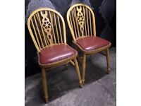 Beautiful Pair of Pine Wheel Back Windsor Dining Kitchen Chairs BARGAIN