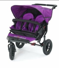 Out n about nipper double puschair in purple