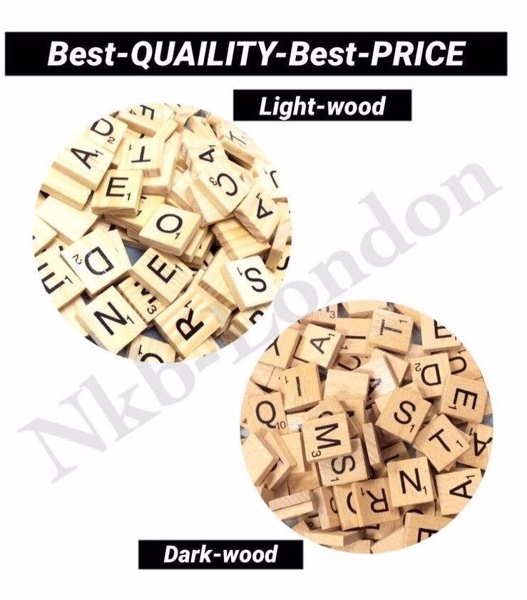 100 Wooden Scrabble Tiles Black Letters Tiles For Crafts Wood Alphabets Toy UK