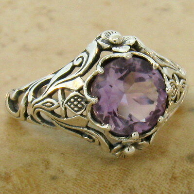 GENUINE BRAZILIAN AMETHYST RING ANTIQUE STYLE .925 STERLING SILVER SIZE 7,  #567
