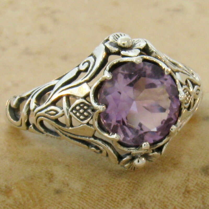GENUINE BRAZILIAN AMETHYST RING ANTIQUE STYLE .925 STERLING SILVER SIZE 10  #567