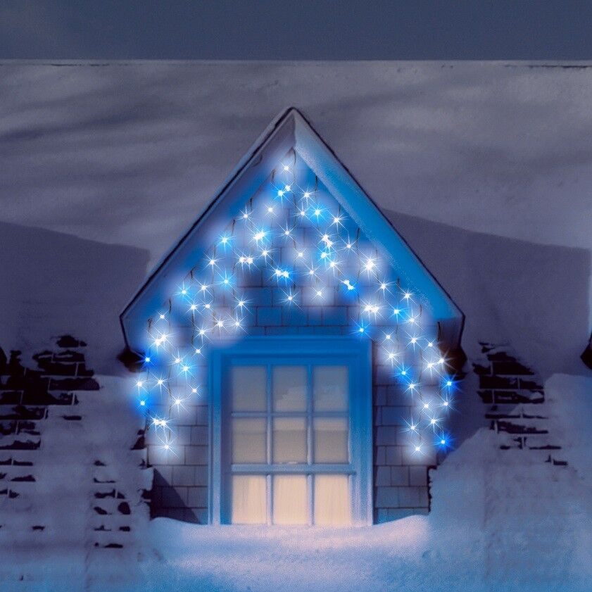 SNOWTIME Outdoor 120 LED Multi Function Blue & Ice White Christmas ...