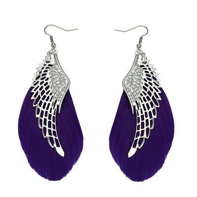 new ladies dark purple angel wing earings party/casual wear