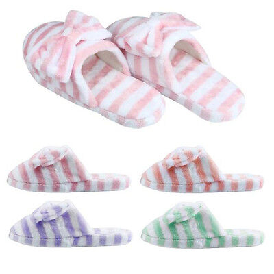 Women Soft Warm Indoor Bowknot Cotton Slippers Home Anti-slip Strip Shoes sy