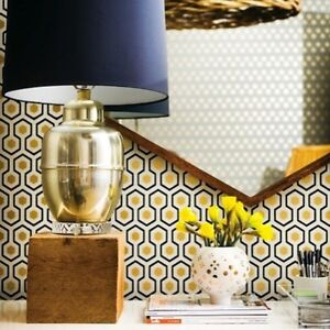 Cole son david hicks hicks hexagon gold white black geometric wallpaper ebay - Papier peint vintage 50 ...