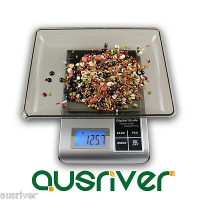 New Silver 500g/0.01g Mini Digital Kitchen Scale LCD Blue Backlight Electronic