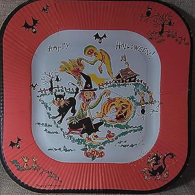 Vintage REED's HALLOWEEN PAPER PLATE-Great Witch~Cat~Ghost~Bat~Owl Graphics - Halloween Art Paper Plates