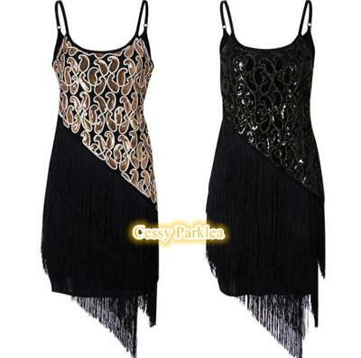Ladies 1920s Roaring 20s Flapper Gatsby Costume Sequins Outfit Dress 6-24 AU - Roaring 20 Outfits