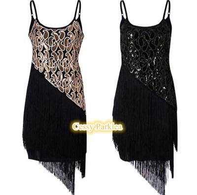 Ladies 1920s Roaring 20s Flapper Gatsby Costume Sequins Outfit Dress 6-24 AU (Roaring 20s Outfits)