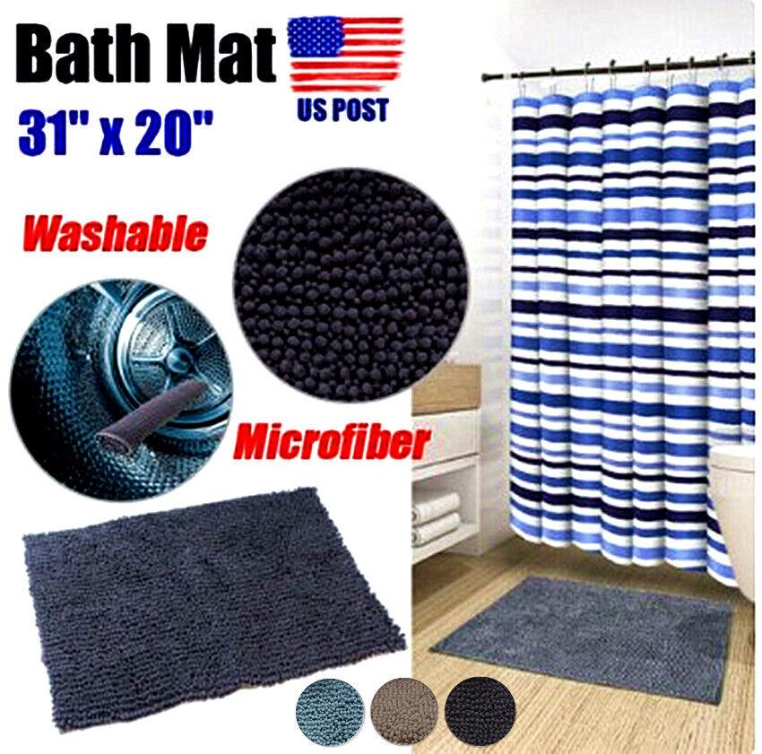 Non-Slip Soft Bathroom Rug Shag Shower Mat Machine-Washable