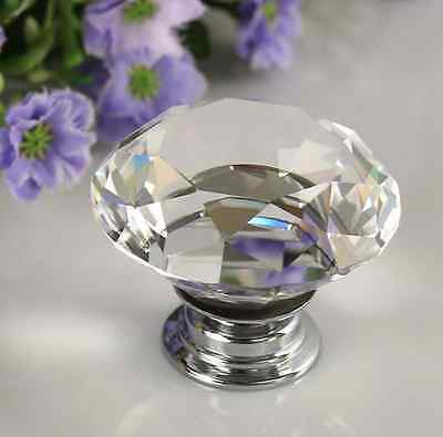 30mm Diamond Crystal Glass Door Pull Drawer Knob Handle Cabinet Furniture ps