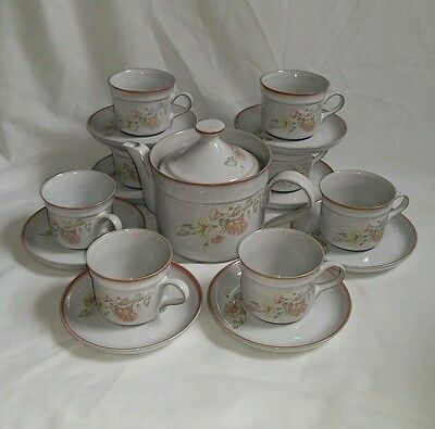 ❀ڿڰۣ❀ DENBY Stoneware MELODY Set of 8 CUPS, SAUCERS & TEAPOT ~ Rare ❀ڿڰۣ❀ SALE