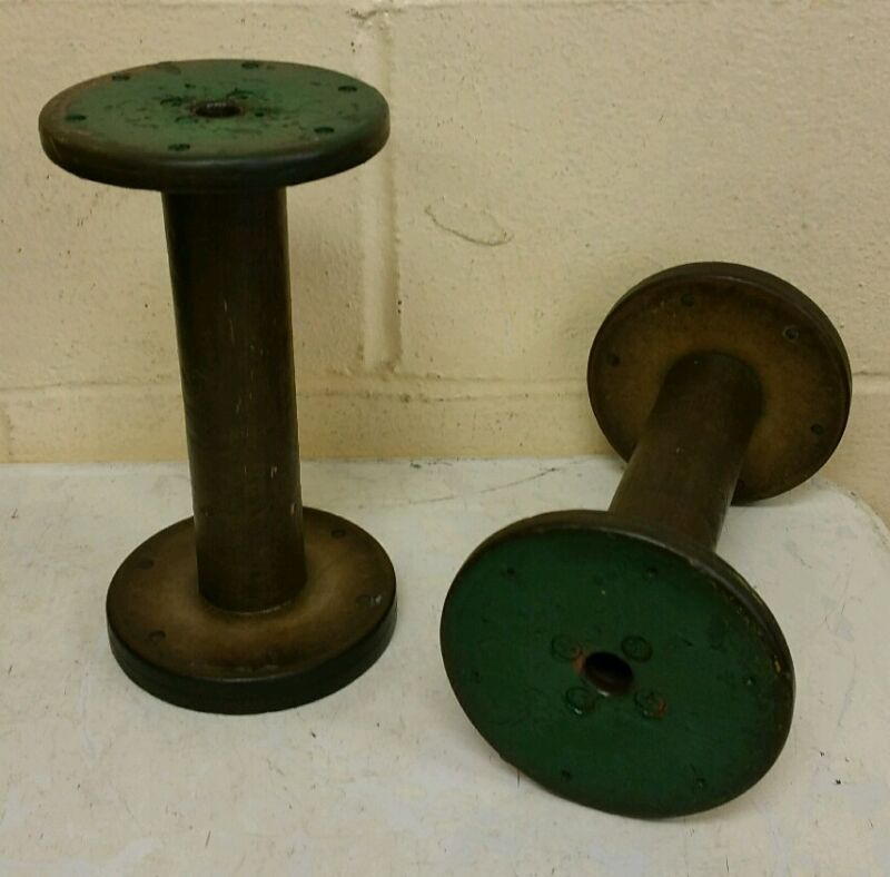 2 Wood Thread Spools Industrial Textile Wooden Display Vintage Industrial