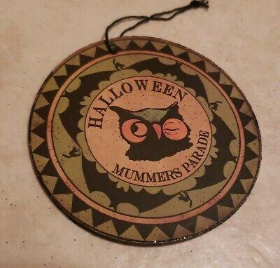 "Owl Round Disc Ornament Halloween Bethany Lowe 3 1/2"""