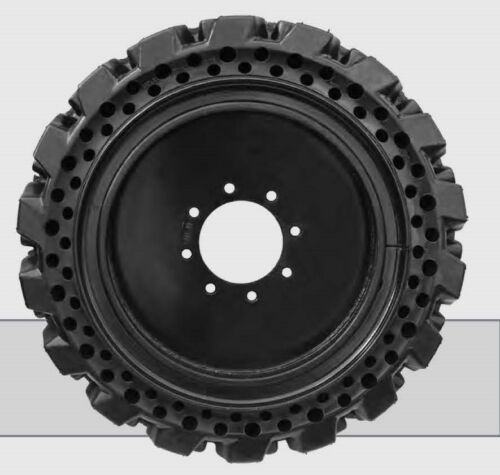 "10"" No-flat Solid Tire Set W/rims For Skid Steer Loader Bobcat Gehl John Deere"
