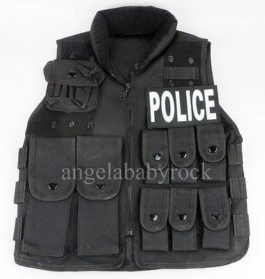 Kids Police Vest (NYLON ZIP COSPLAY VEST KIDS BOYS TACTICS SWAT POLICE VEST AGE7-10)