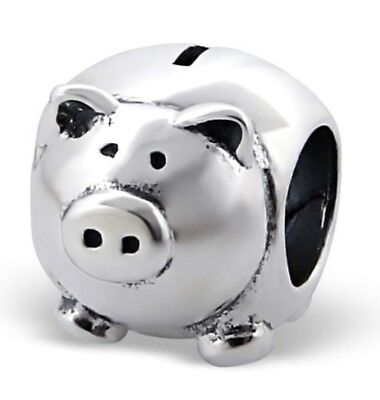 (S2018 Authentic Sterling Silver Piggy Bank Big Charm for Bracelet)