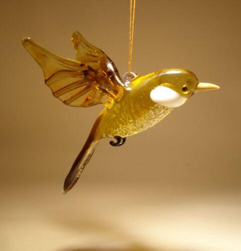 Blown Glass  Figurine Art Brown Hanging Bird SPARROW Ornament