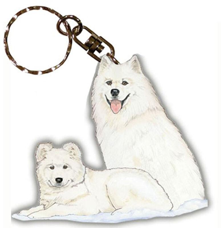 Samoyed Keychain Wooden Dog