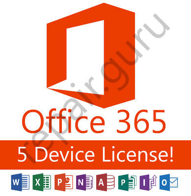 Microsoft Office 365   5 Devices   2016 Version   Mac  Windows   Mobile