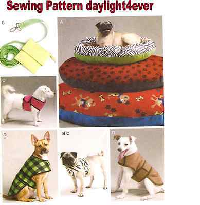 Dog Pet Coat Vest Clothes Bed Pillow Leash Sewing Pattern 6455 New 3 Sizes Bed v